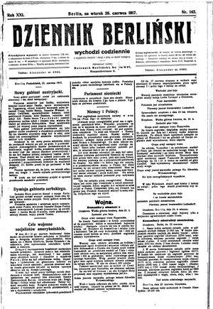 Dziennik Berliński vom 26.06.1917