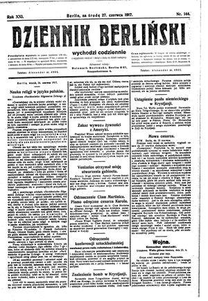 Dziennik Berliński vom 27.06.1917
