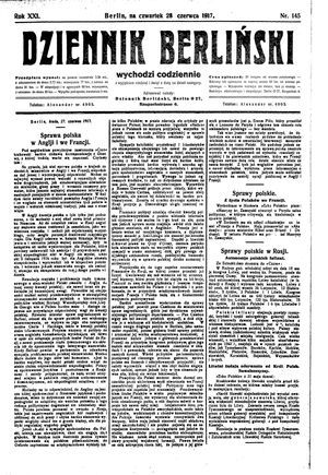 Dziennik Berliński vom 28.06.1917