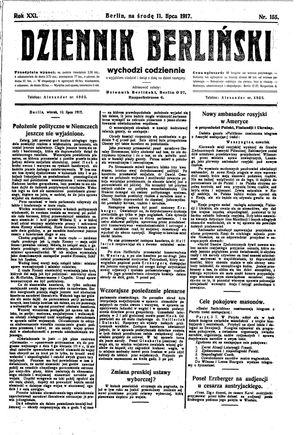 Dziennik Berliński vom 11.07.1917