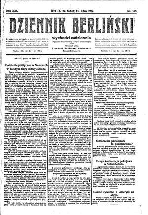 Dziennik Berliński vom 14.07.1917