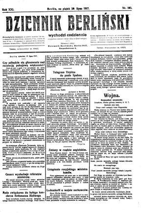 Dziennik Berliński vom 20.07.1917