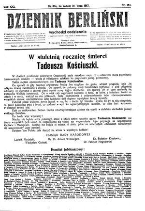 Dziennik Berliński vom 21.07.1917