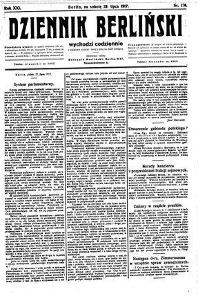 Dziennik Berliński vom 28.07.1917
