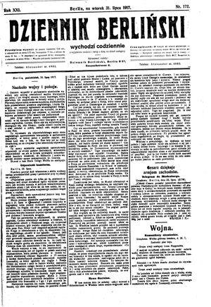 Dziennik Berliński vom 31.07.1917