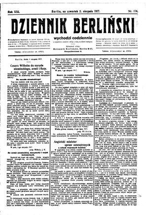 Dziennik Berliński vom 02.08.1917