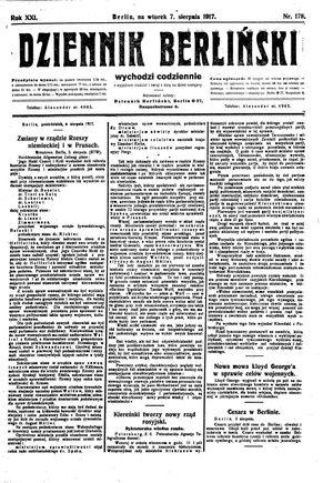 Dziennik Berliński vom 07.08.1917