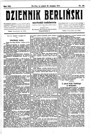 Dziennik Berliński vom 10.08.1917