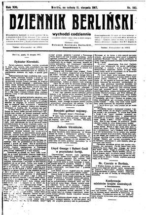 Dziennik Berliński vom 11.08.1917