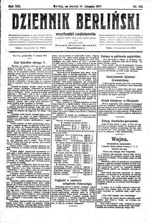 Dziennik Berliński vom 14.08.1917