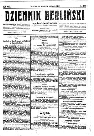 Dziennik Berliński vom 15.08.1917
