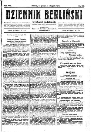 Dziennik Berliński vom 17.08.1917