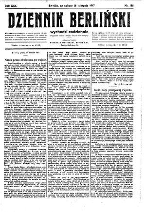 Dziennik Berliński vom 18.08.1917