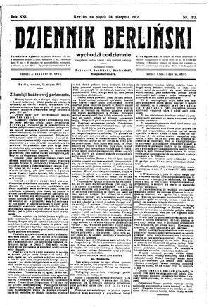 Dziennik Berliński vom 24.08.1917