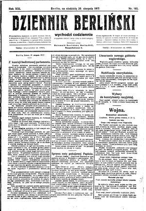 Dziennik Berliński vom 26.08.1917