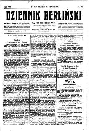 Dziennik Berliński vom 31.08.1917