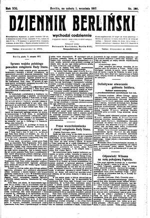 Dziennik Berliński vom 01.09.1917