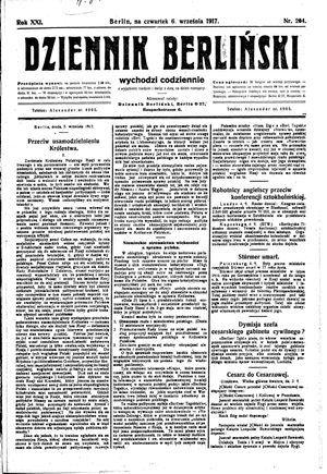 Dziennik Berliński vom 06.09.1917
