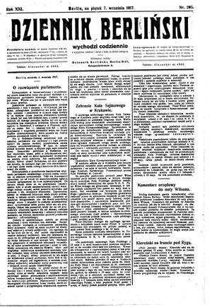 Dziennik Berliński vom 07.09.1917