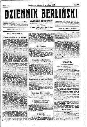 Dziennik Berliński vom 08.09.1917