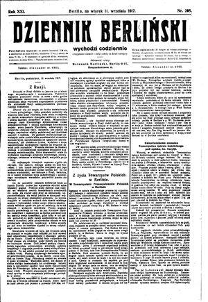 Dziennik Berliński vom 11.09.1917