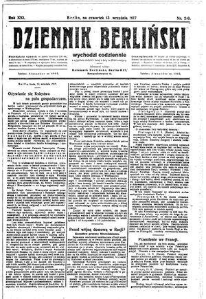 Dziennik Berliński vom 13.09.1917