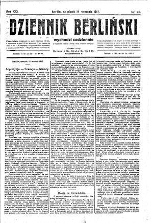 Dziennik Berliński vom 14.09.1917