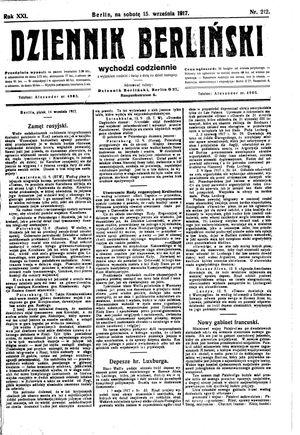 Dziennik Berliński vom 15.09.1917