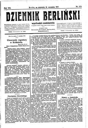 Dziennik Berliński vom 16.09.1917
