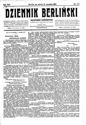 Dziennik Berliński on Sep 18, 1917
