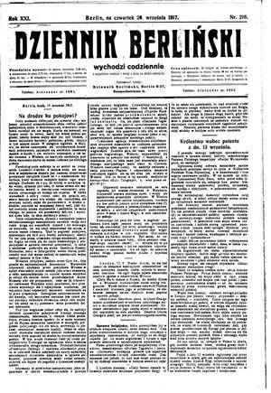 Dziennik Berliński vom 20.09.1917