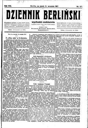 Dziennik Berliński vom 21.09.1917