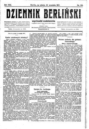 Dziennik Berliński vom 22.09.1917