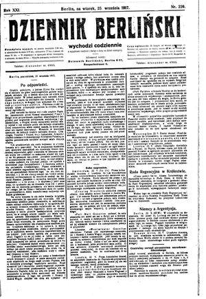 Dziennik Berliński vom 25.09.1917