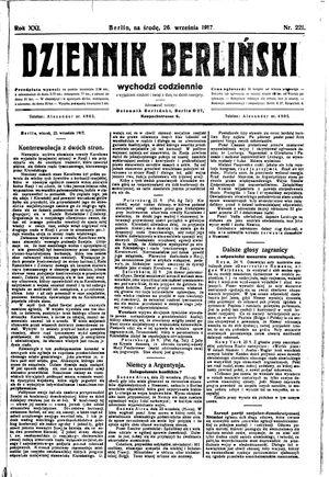 Dziennik Berliński vom 26.09.1917