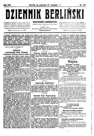 Dziennik Berliński vom 27.09.1917