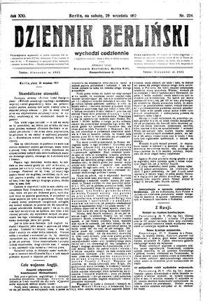 Dziennik Berliński vom 29.09.1917