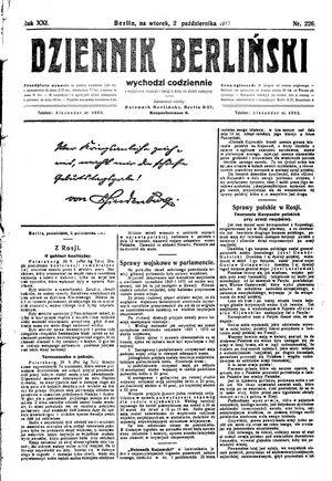 Dziennik Berliński vom 02.10.1917