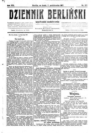 Dziennik Berliński vom 03.10.1917