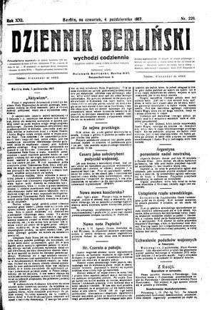 Dziennik Berliński vom 04.10.1917
