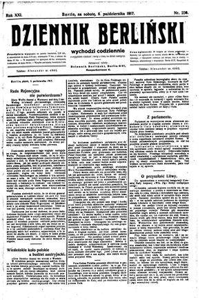 Dziennik Berliński vom 06.10.1917