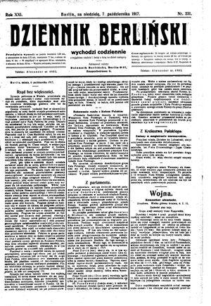 Dziennik Berliński vom 07.10.1917