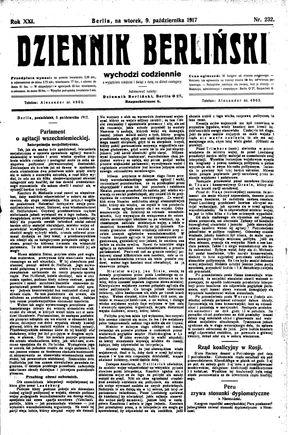 Dziennik Berliński vom 09.10.1917