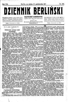Dziennik Berliński vom 13.10.1917