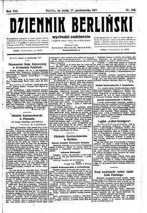 Dziennik Berliński vom 17.10.1917