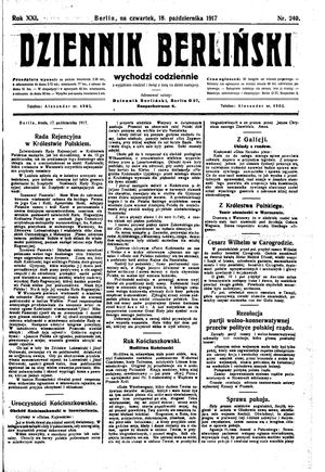 Dziennik Berliński vom 18.10.1917