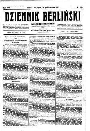 Dziennik Berliński vom 19.10.1917
