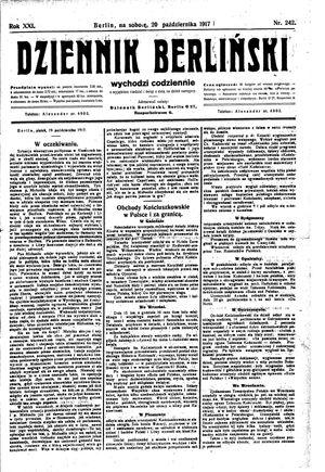 Dziennik Berliński vom 20.10.1917