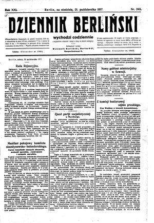 Dziennik Berliński vom 21.10.1917