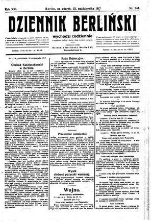 Dziennik Berliński vom 23.10.1917